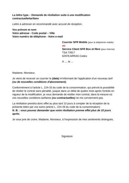 lettre type resiliation contrat entretien