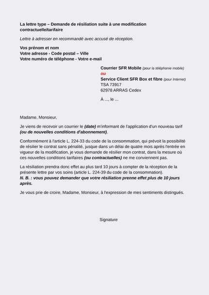 lettre type resiliation numericable cause demenagement