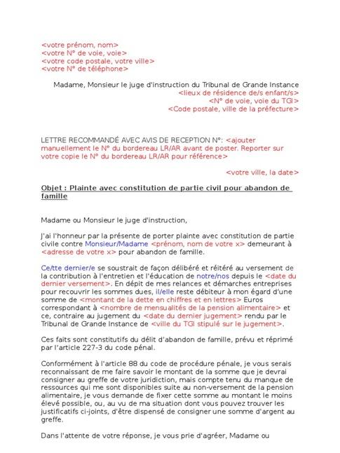 lettre versement pension alimentaire
