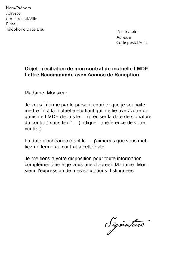 mgen resiliation - Modele de lettre type