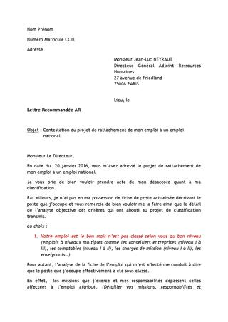 model de lettre de contestation