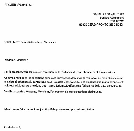 model de lettre de resiliation canal plus
