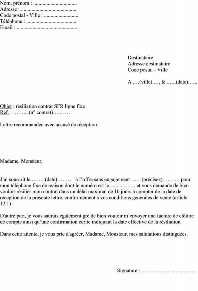 model de lettre resiliation telephone
