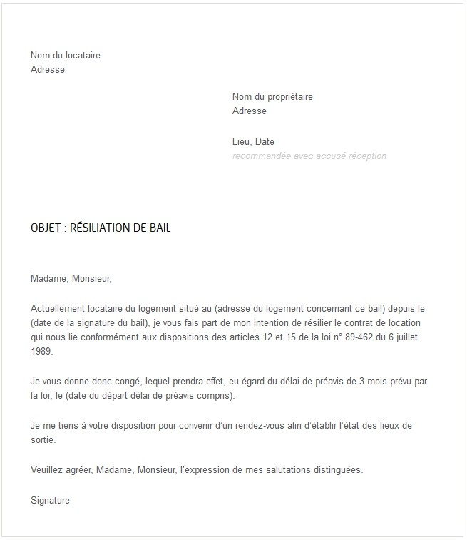 model lettre preavis location 3 mois