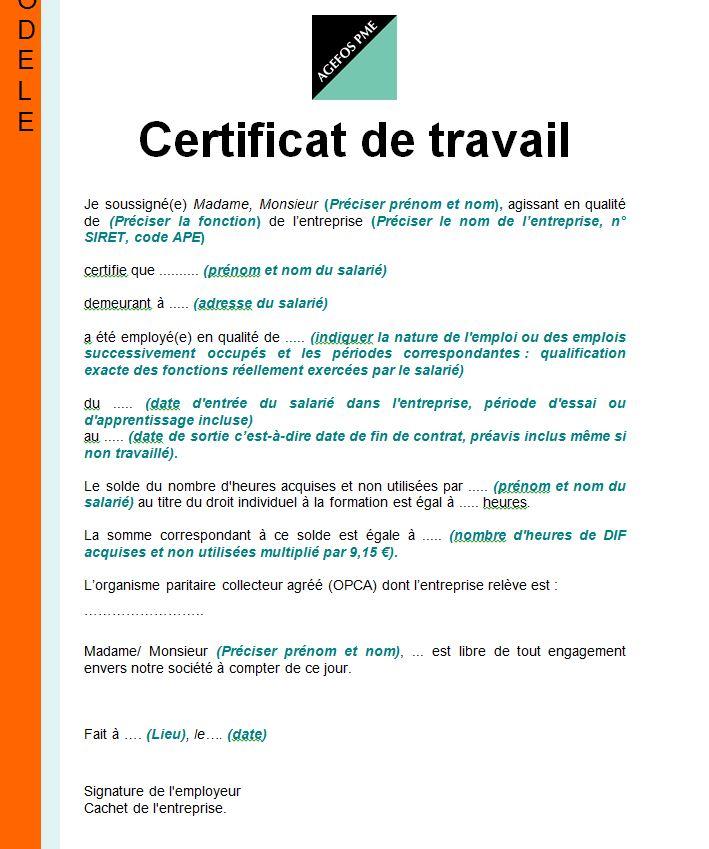 modele attestation de travail pdf - Modele de lettre type