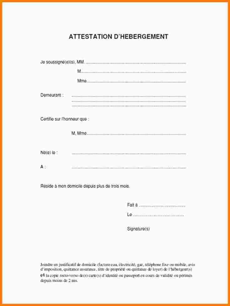 modele attestation hebergement a titre gratuit
