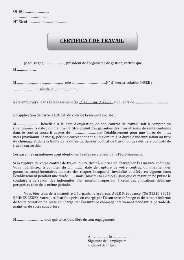 modele certificat de travail cesu gratuit - Modele de lettre type