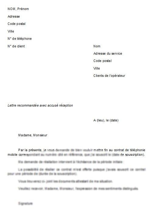 modele courrier de resiliation contrat - Modele de lettre type