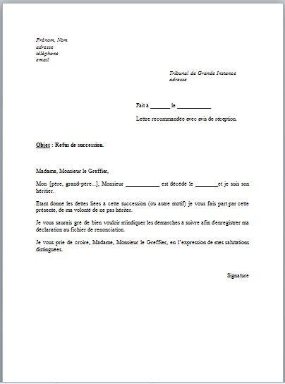 modele courrier refus candidature - Modele de lettre type