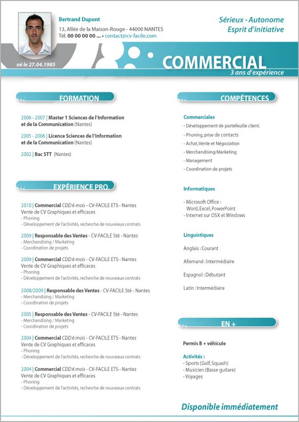 modele cv commercial gratuit