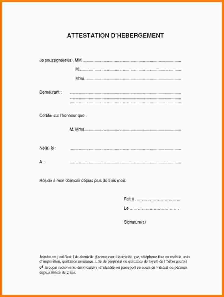 modele d'attestation d'hebergement a titre gratuit