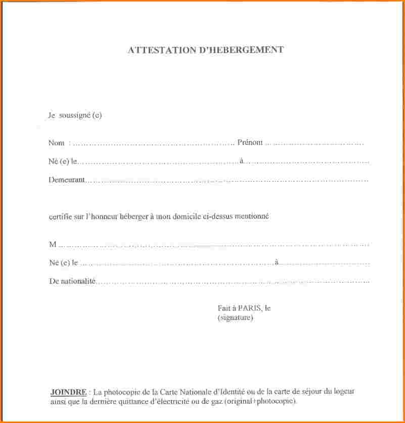 modele d'attestation d'hebergement
