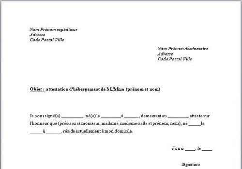 modele de certificat d'hebergement
