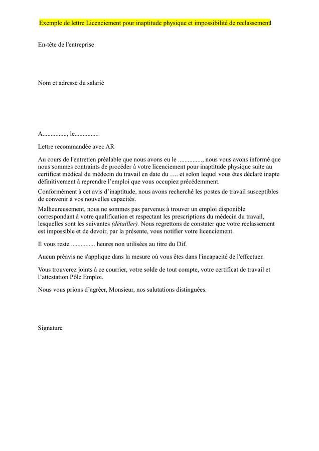 modele de lettre de licenciement pour inaptitude au travail