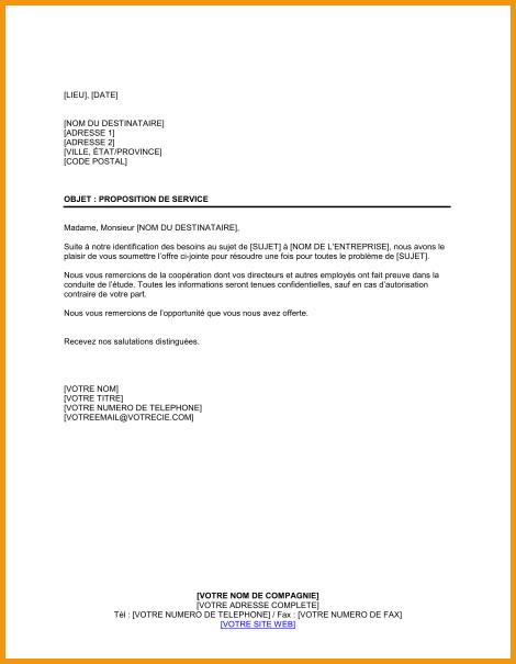 modele de lettre de proposition