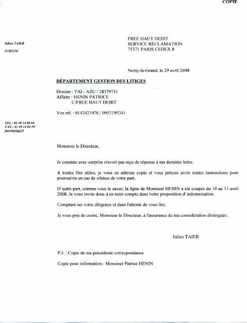 modele de lettre de reclamation pour free