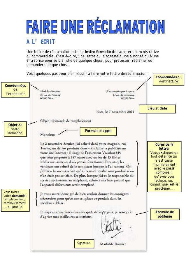 modele de lettre de reclamation