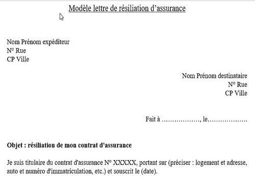 modele de lettre de resiliation de contrat d'assurances