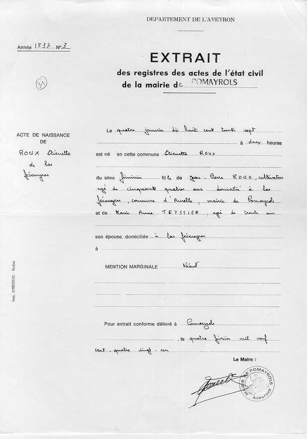modele lettre acte de naissance avec filiation
