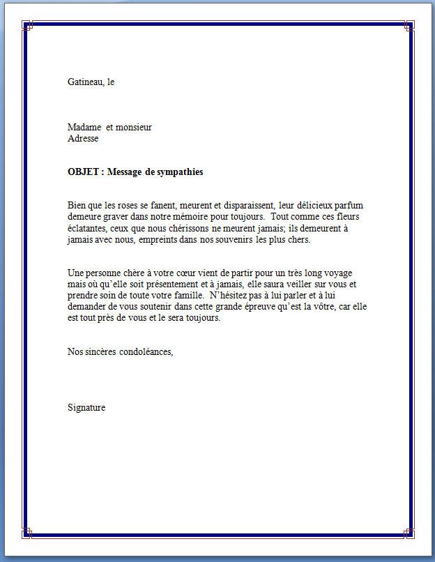 modele lettre de condoleance gratuit
