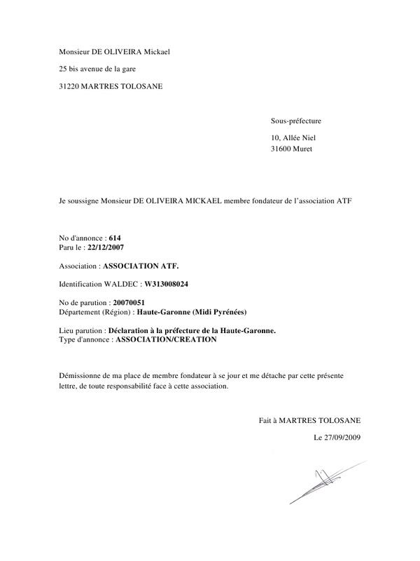 modele lettre de demission association - Modele de lettre type