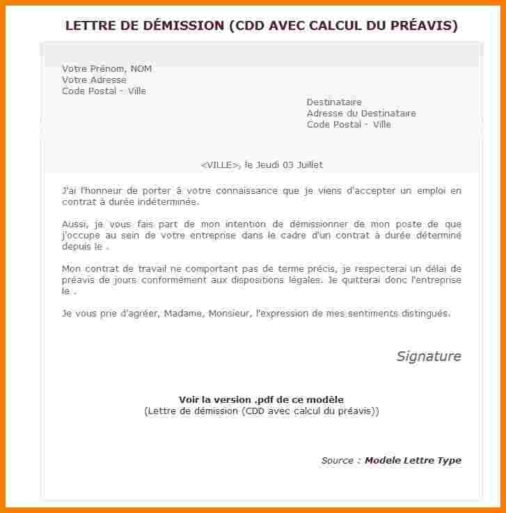 modele lettre de demission cdd sans preavis - Modele de ...