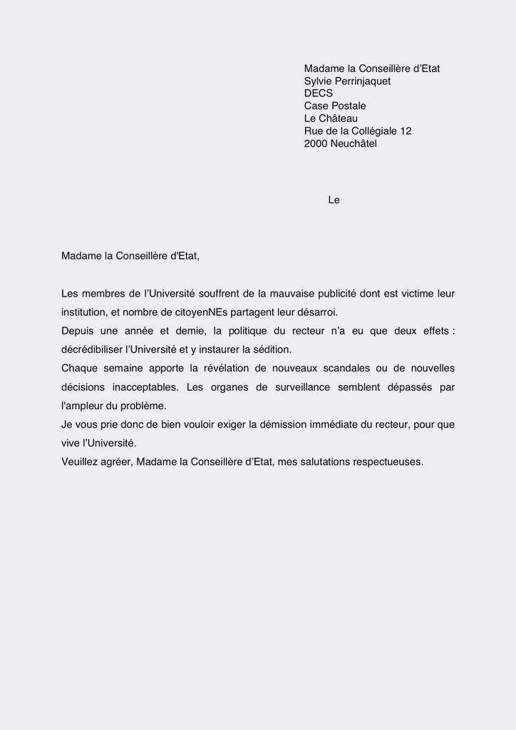 modele lettre de demission suisse - Modele de lettre type