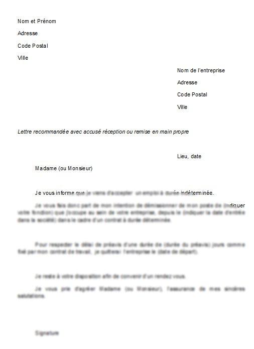 modele lettre de non renouvellement de cdd par le salarie - Modele de lettre type