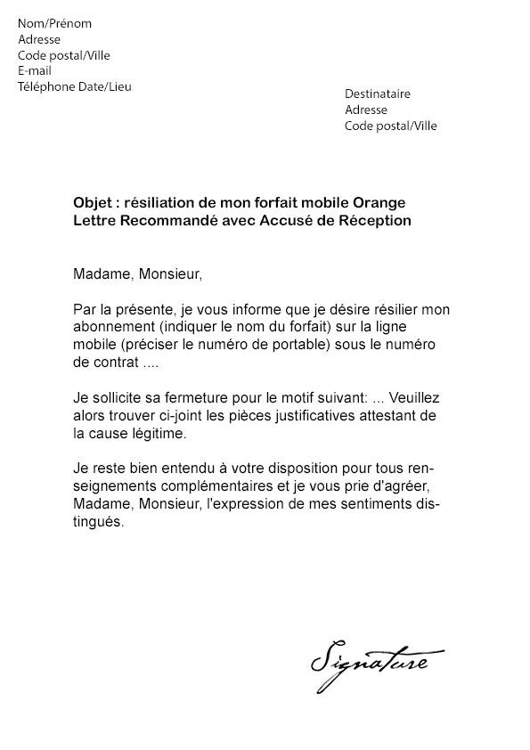 modele lettre de resiliation abonnement internet orange