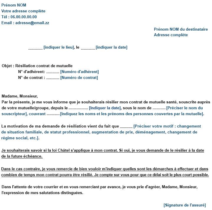 modele lettre de resiliation contrat - Modele de lettre type