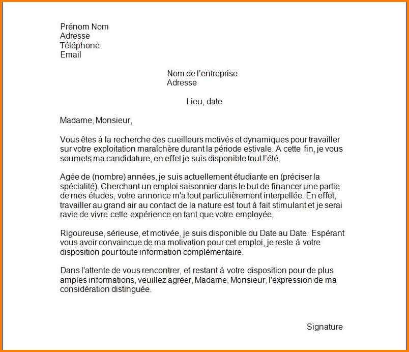 modele lettre demande d'emploi saisonnier etudiant ...