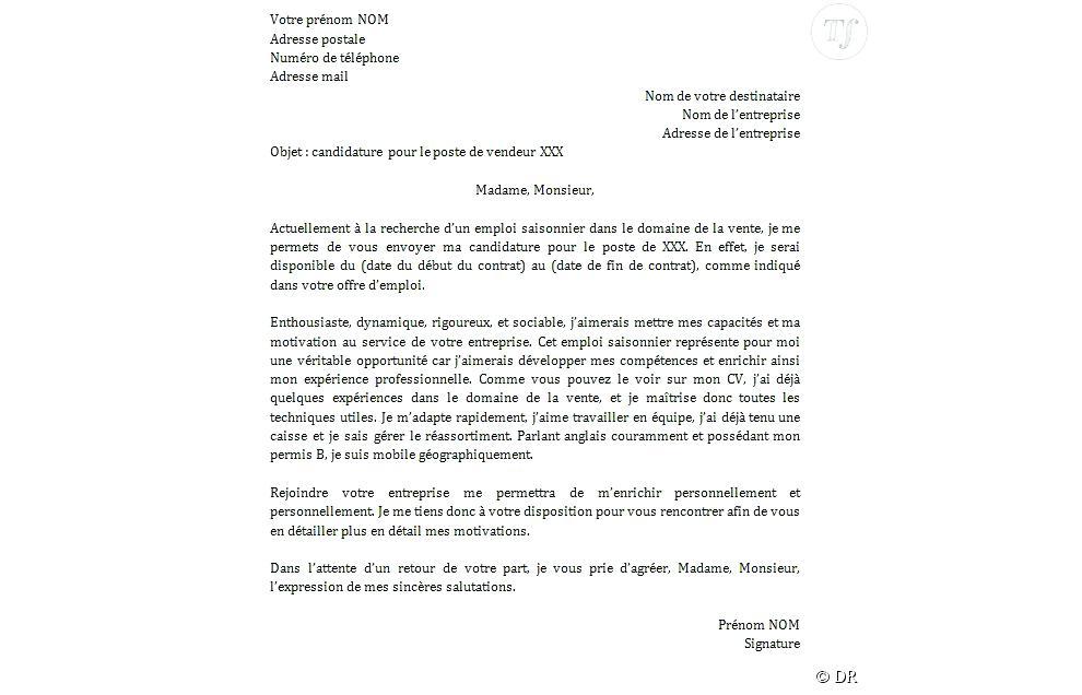 modele lettre demande d'emploi saisonnier - Modele de ...