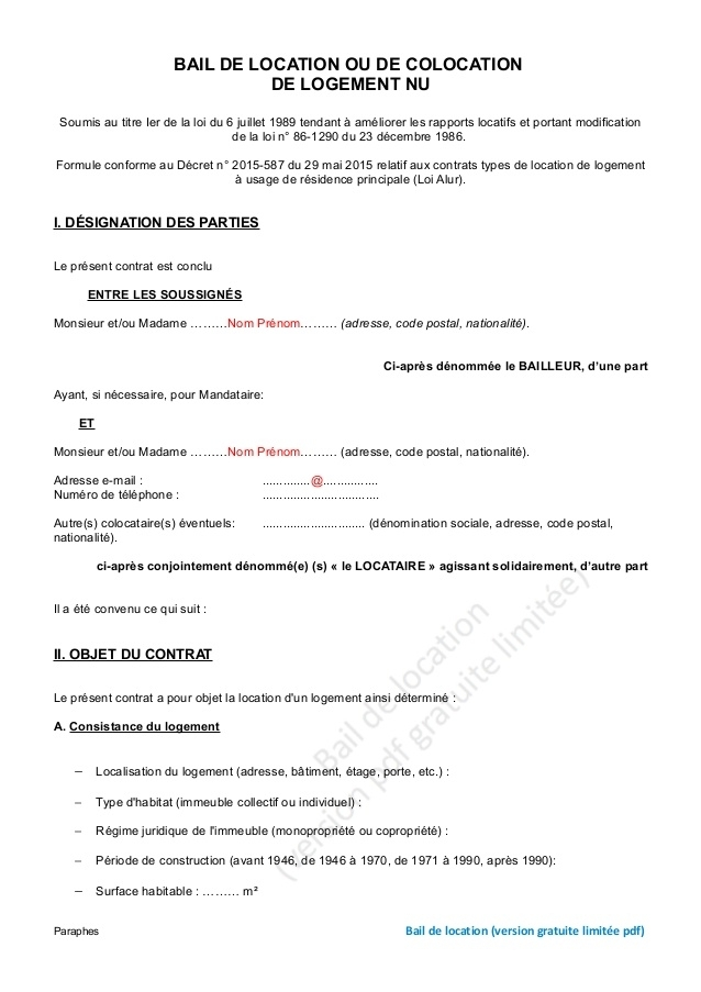 modele lettre preavis colocation