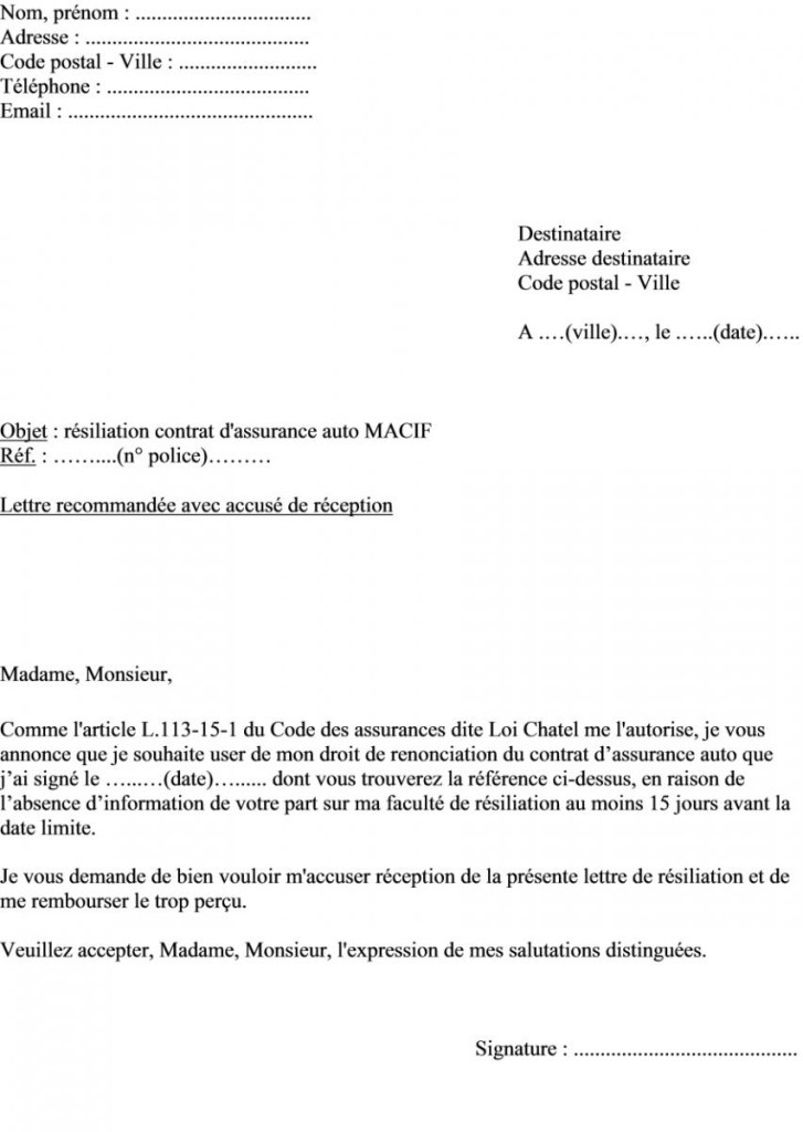 modele lettre resiliation assurance auto vente - Modele de lettre type