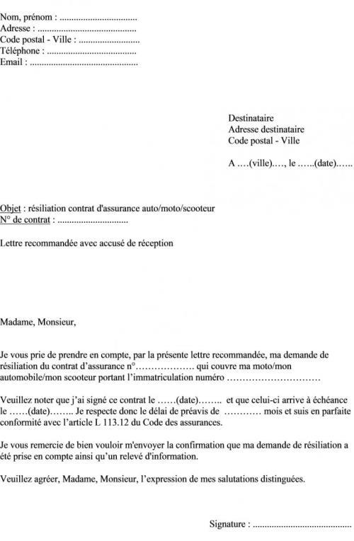 modele lettre resiliation assurance suite vente vehicule