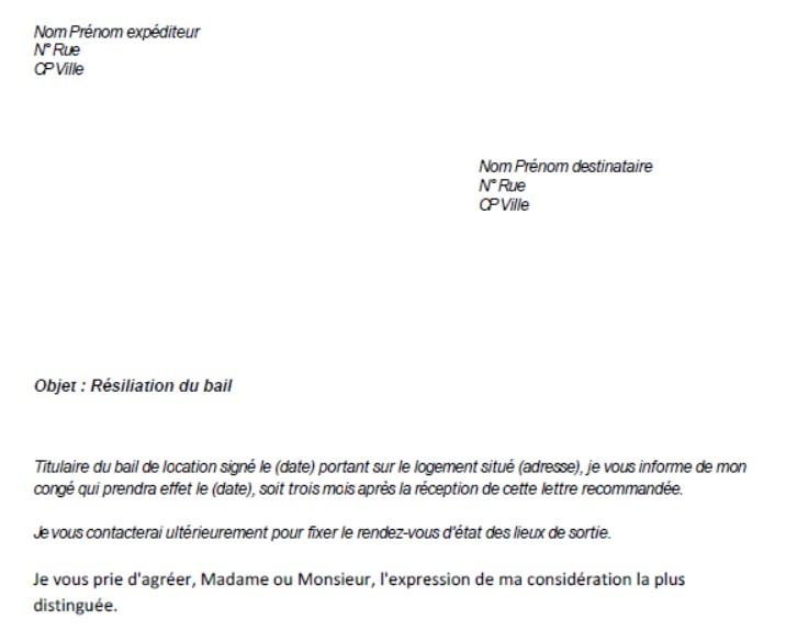 modele lettre resiliation bail 1 mois - Modele de lettre type
