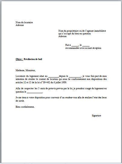 modele lettre resiliation bail 3 mois preavis - Modele de lettre type
