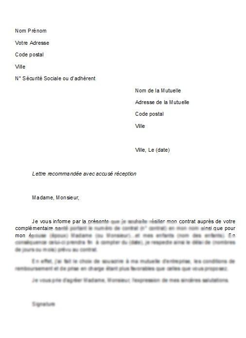 modele lettre resiliation parabole reunion - Modele de lettre type