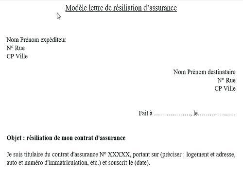 modele resiliation assurance habitation