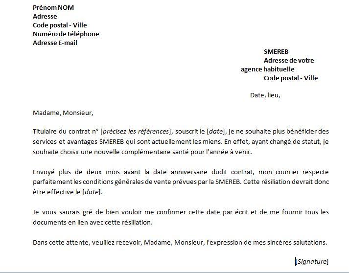 mutuelle resiliation lettre