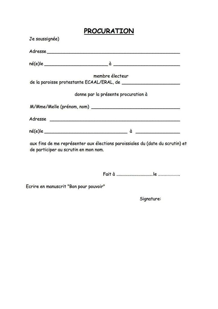procuration bapteme - Modele de lettre type