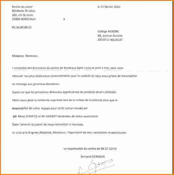 remerciement lettre administrative