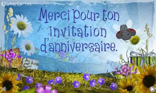 reponse a une invitation pour un anniversaire