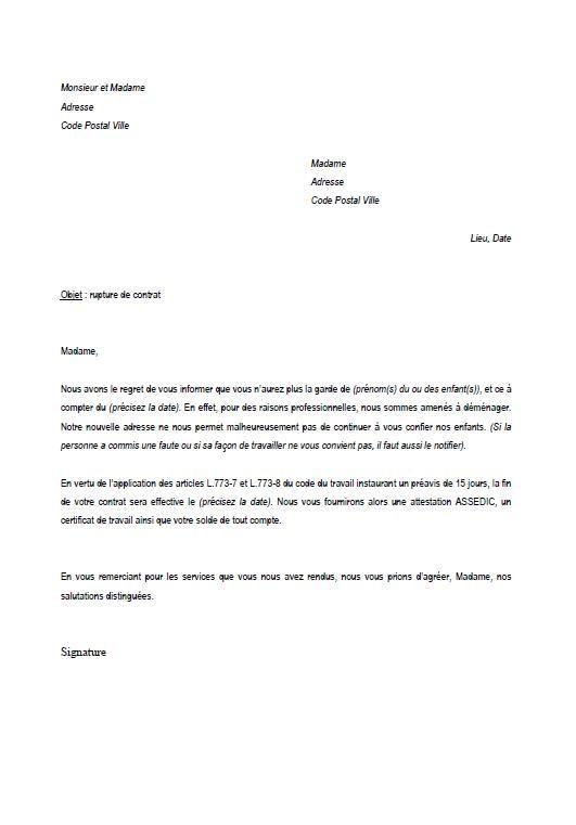 resiliation contrat nourrice modele