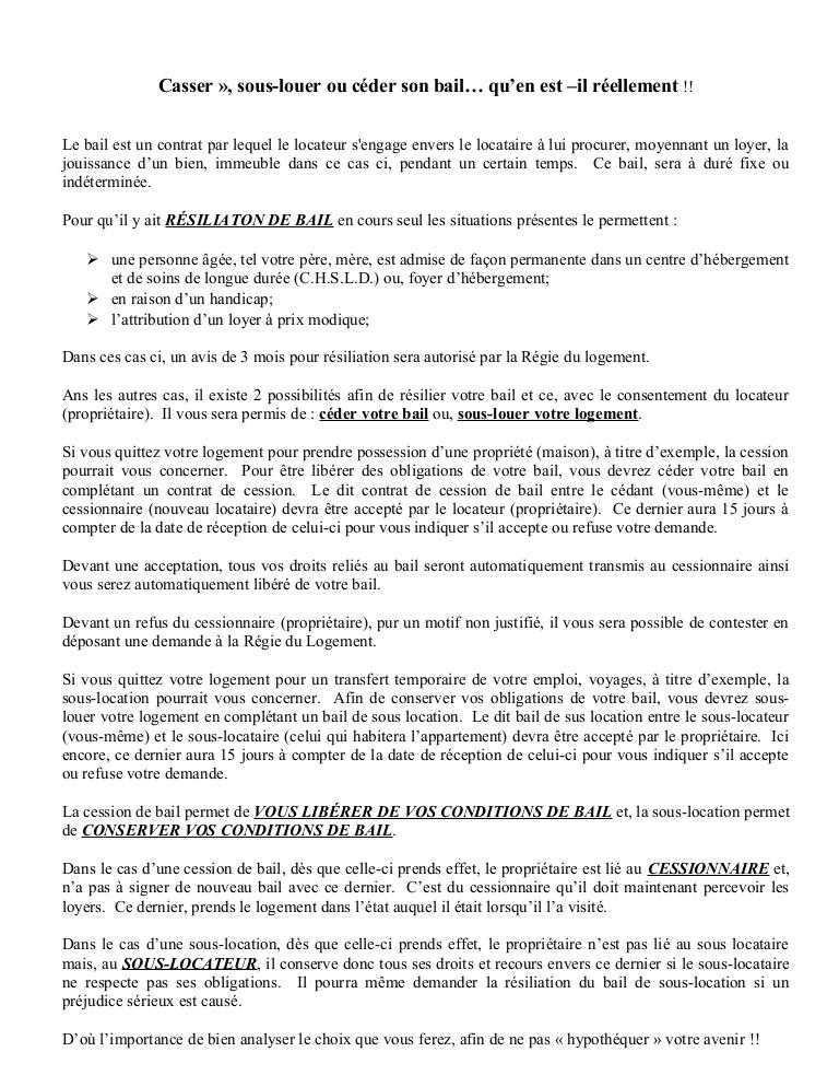 resiliation de bail 1 mois conditions - Modele de lettre type