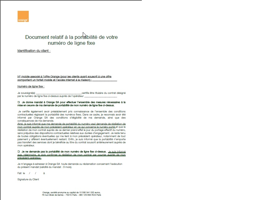 resiliation forfait mobile orange