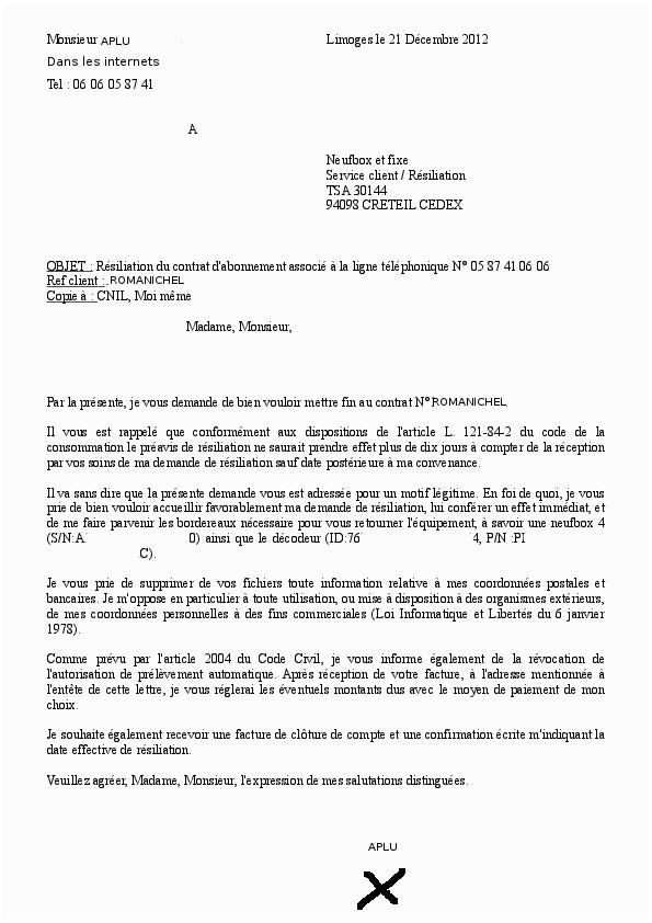 sfr lettre de resiliation internet - Modele de lettre type