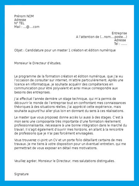 specimen de lettre de motivation