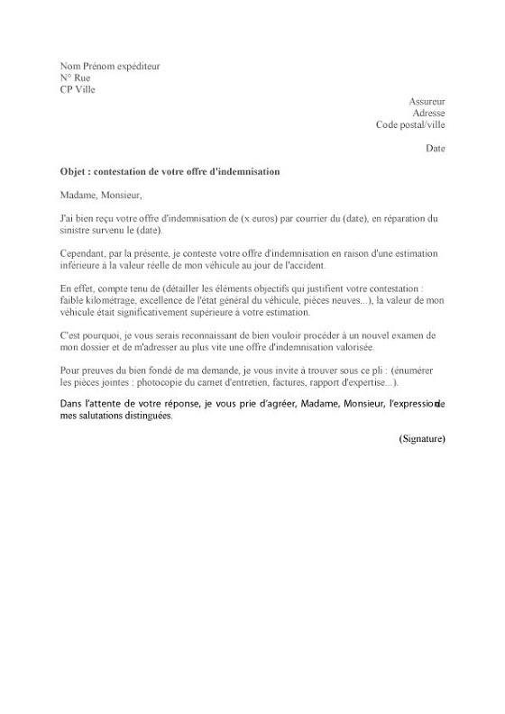 une lettre de contestation